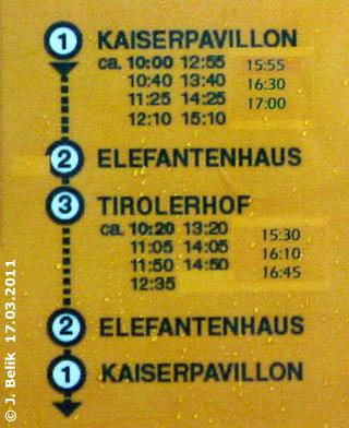 Fahrplan, Haltestelle Kaiserpavillon, 17. März 2011